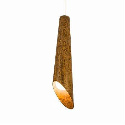 Pendente Cônico Cortado Vertical Madeira Imbuia 70x15cm Accord Iluminação 1x E27 25W Bivolt 1277 Salas e Mesas