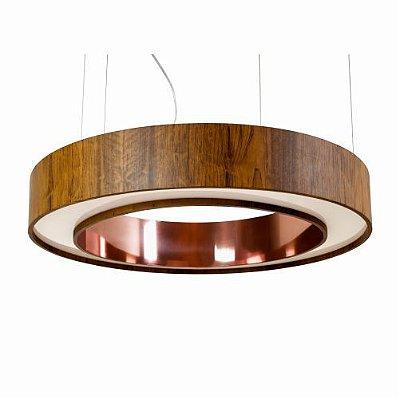 Pendente Anel Cilindrico Redondo Madeira Imbuia 12x60cm Accord Iluminação Fita LED 6W 1285CO Mesas e Quartos