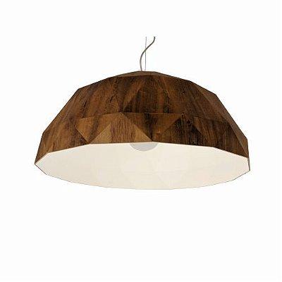 Pendente Meia Bola Multifacetado Madeira Imbuia 30x65cm Accord Iluminação 1x E27 25W Bivolt 1292 Salas e Mesas