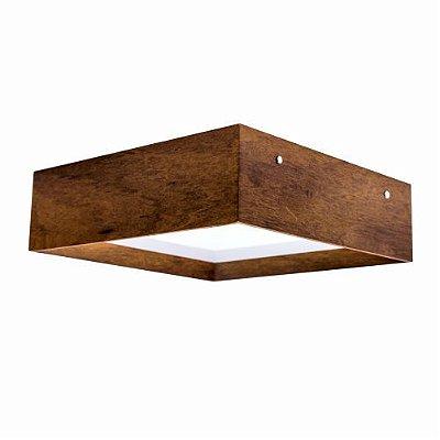 Plafon Meio Esquadro Quadrado Madeira Imbuia 12x30cm Accord Iluminação 2x E27 25W Bivolt 495 Salas e Entradas