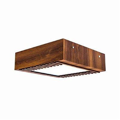 Plafon Ripado Sobrepor Aberto Quadrado Madeira Imbuia 12x30cm Accord Iluminação 2x E27 Bivolt 501 Salas e Quartos