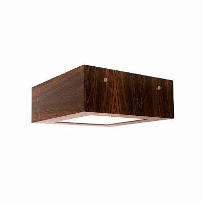 Plafon Clean Frame Sobrepor Quadrado Madeira Imbuia 12x30cm Accord Iluminação 2x E27 Bivolt 502 Salas e Quartos