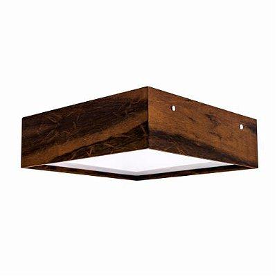 Plafon Clean Sobrepor Quadrado Madeira Imbuia 12x30cm Accord Iluminação 2x E27 Bivolt 573 Salas e Entradas