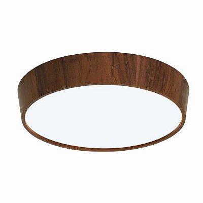 Plafon Cônico Sobrepor Redondo Madeira Imbuia 12x75cm Accord Iluminação 4x E27 25W Bivolt 589 Salas e Quartos
