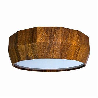 Pendente Cilindrico Multi-Facetado Madeira Imbuia 13x60cm Accord Iluminação 3x E27 25W Bivolt 594 Salas e Quartos