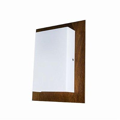 Arandela Clean Retangular Vertical Madeira Imbuia 39x30cm Accord Iluminação 2x E27 Bivolt 434 Salas e Corredores