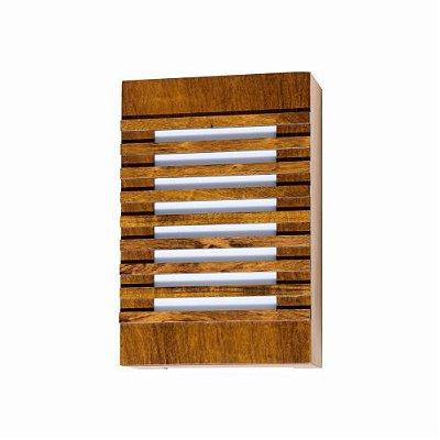 Arandela Ripada Vertical Retangular Madeira Imbuia 30x20cm Accord Iluminação 2x E27 Bivolt 440 Salas e Quartos