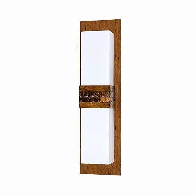 Arandela Pastilhada Vertical Acrílico Madeira Imbuia 55x15cm Accord Iluminação 2x E27 Bivolt 439 Salas e Quartos