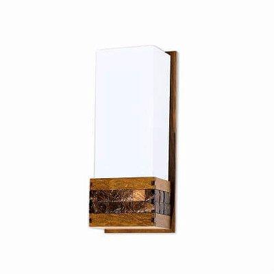 Arandela Pastilhada Vertical Acrílico Madeira Imbuia 30x15cm Accord Iluminação 1x E27 Bivolt 441 Salas e Quartos