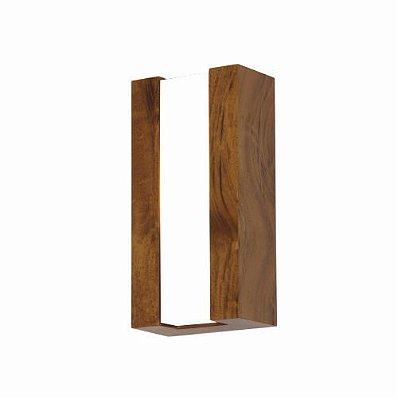 Arandela Filete Clean Acrílico Madeira Imbuia 30x15cm Accord Iluminação 2x E27 25W Bivolt 446 Corredores e Salas