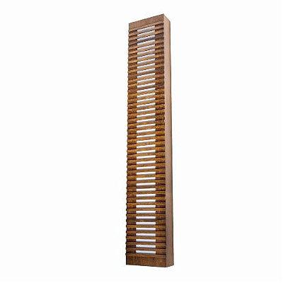 Arandela Ripada Longa Retangular Madeira Imbuia 90x20cm Accord Iluminação 3x E27 Bivolt 472 Salas e Entradas