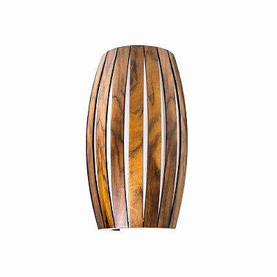 Arandela Barril Ripada Vertical Madeira Imbuia 34x20cm Accord Iluminação 2x E27 25W Bivolt 4014 Salas e Hall