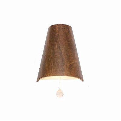 Arandela Liso Cônica Vertical Cristal Madeira Imbuia 25x20cm Accord Iluminação 1x E27 25W 4018C Salas e Entradas