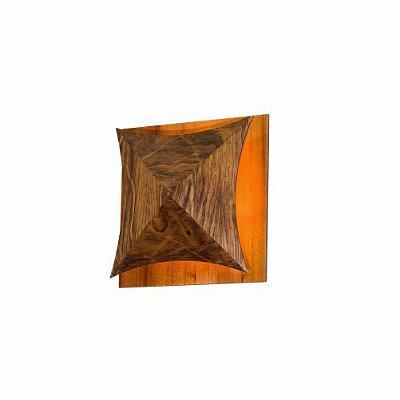 Arandela Pirâmide Curvo Facetado Madeira Imbuia 16x5,2cm Accord Iluminação 1x Placa LED 6W 4063 Salas e Quartos