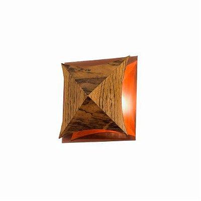 Arandela Pirâmide Curvo Facetado Madeira Imbuia 16x5,2cm Accord Iluminação 1x Placa LED 6W 4063CO Salas e Quartos