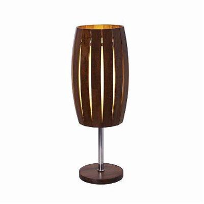 Abajur Barril Ripado Metal Vertical Madeira Imbuia 50x15cm Accord Iluminação 1x E27 Bivolt 7011 Mesas e Cabeceiras