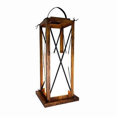 Coluna Lanterna Rustica Vertical Madeira imbuia 102x35cm Accord Iluminação 1x E27 25W Bivolt 3012 Salas e Entradas