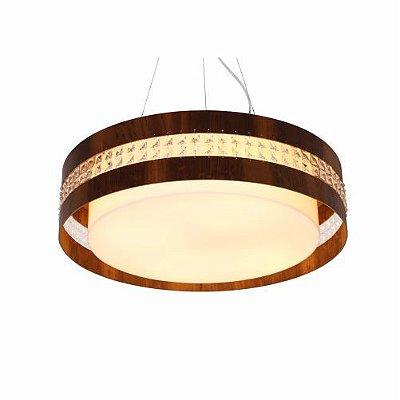 Pendente Cilindrico Cristais Redondo Madeira Imbuia 15x60cm Accord Iluminação 3x E27 Bivolt 1104 Salas e Hall