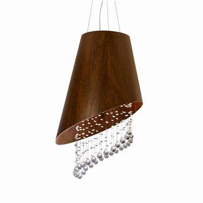 Pendente Cone Cortado Cristais Madeira imbuia 70x60cm Accord Iluminação 4x GU10 Dicróica 1197 Salas e Mesas