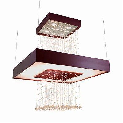 Pendente Anel Cristais Quadrado Madeira Imbuia 98x80cm Accord Iluminação 4x GU10 Dicróica 1245 Salas e Hall