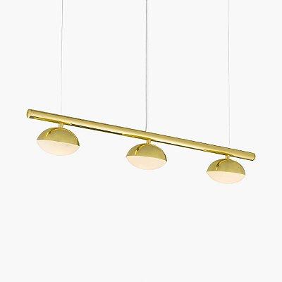 Lustre Avelã LED Triplo Foco Moderno Alumínio Dourado 80cm Golden Art 3x LED 3 Watts T1800-3 Mesas e Balcões