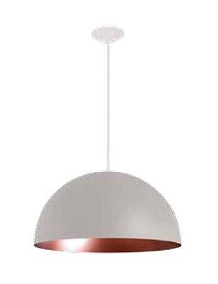 Pendente Domus 1/2 Esfera Redondo Alumínio Branco 20x40cm Newline 1x E27 25W Bivolt SNT330BTCO Salas e Cozinhas