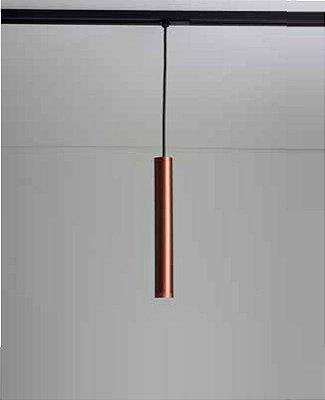 Pendente Lisse II Tubular Vertical Alumínio Cobre 31,5x4cm Newline 1x GU10/ GZ10 LED 420APCOCO Salas e Quartos