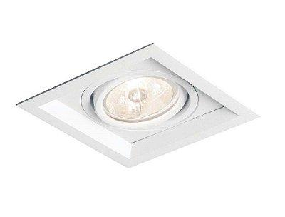 Spot Recuado II LED Embutido Direcionável Alumínio 17,9x8,5cm Newline 1x GU10 AR111 IN51351BT Corredores e Salas