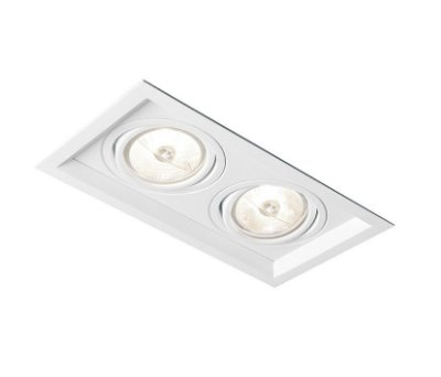 Spot Recuado Duplo II LED Embutido Alumínio 17,9x8,5cm Newline 2x GU10 AR111 IN51352BT Corredores e Salas