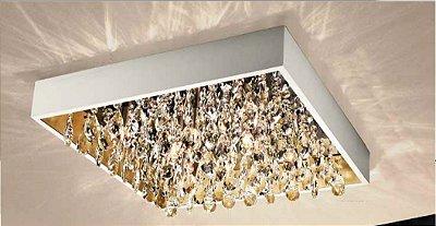 Plafon Lusso Sobrepor Cristais Alumínio Branco 11x60cm Newline 9x G9 Halopin Bivolt 362BTDO Entradas e Salas