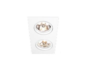 Spot Lisse II Duplo Embutido Retangular Alumínio 7x18cm Newline 2x GU10/GZ10 PAR16 50W IN55522BT Salas e Quartos