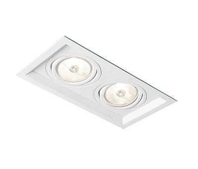 Spot Recuado Duplo II Embutido Alumínio Branco 9x20cm Newline 2x GU10/GZ10 PAR16 50W IN50322BT Corredores e Salas