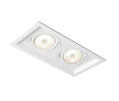 Spot Recuado Duplo II Embutido Alumínio Branco 9x20cm Newline 2x E27 PAR20 50W IN50332BT Corredores e Salas