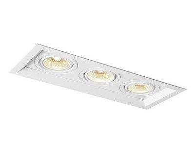 Spot Recuado Triplo II Embutido Alumínio 8,5x46,9cm Newline 3x GU10/GZ10 AR111 LED IN51353BT Corredores e Salas