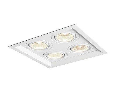 Spot Recuado 4 Foco II Embutido Alumínio Branco 8,5x32,4cm Newline 4x GU10/GZ10 AR111 LED IN51354BT Corredores e Salas
