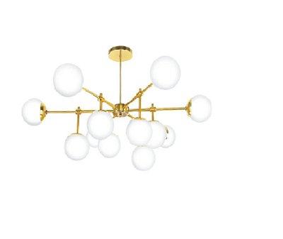 Plafon Old Artisan PLF5325 Moderno Esfera Bola De Vidro Dourado Cores (12 - G9) Ø1000X-A420
