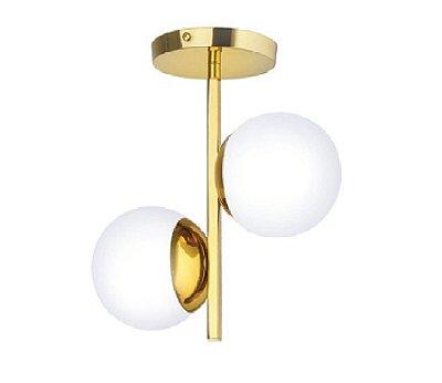 Plafon Old Artisan PLF5312 Duplo Moderno Esfera Bola De Vidro Dourado Polido Cores (2 - G9)  C-250XL-120XA-300