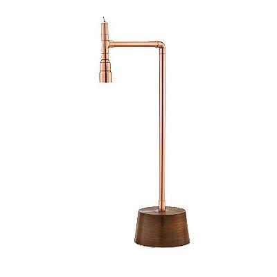 Abajur LUMINÁRIA DE MESA Imports 1771 Henry Base madeira Tubular Canos 13,5 cm x 51,5 cm x 25 cm