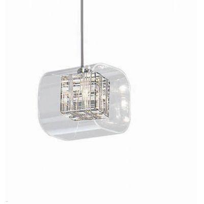 PENDENTE QUALITY NLI  185 CUBE VIDRO Quadrado Cristal Vertical 1XG9 12X12CM