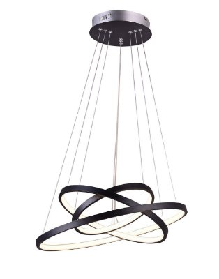 PENDENTE QUALITY NLI QPD1303-PT METAL LED Suspenso Aro Esfera Moderno Triplo 89W 3000K 60*50*40X2CM PRETO