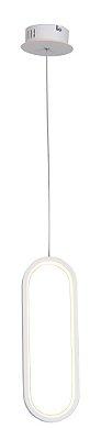 PENDENTE QUALITY NLI QPD1321BR LED Oval Moderno Minimalista 35 x A12 cm 16W 3000K BRANCO