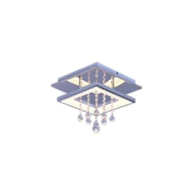 PLAFON QUALITY NLI QPL1336P METAL LED Quadrado Suspenso Cristal Espelhado 35 x 35 x A24 cm 12W 3000K