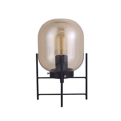 Abajur QUALITY NLI QAB1335FM VIDRO METAL Base Moderno Esfera PRETO FUME Ø16 x A28,5 cm 1XE27