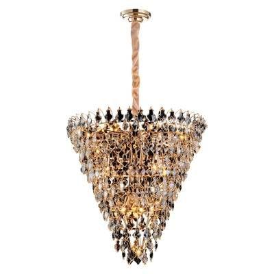 LUSTRE Bella PARIS AQ024L Cristais Triangular Imperial Transparente Dourado A89xD85 Vela 17xE14