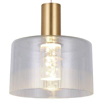 PENDENTE Bella BB005G POTI Pendurado Redondo Cupula de Vidro Dourado Transparente 20cm x 22cm  1 x LED 5W FRENCH