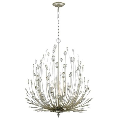 PENDENTE Bella BO011 LORE Candelabro Floral  Prata Envelecido Transparente 69cm x 65cm  9 x E14 40W
