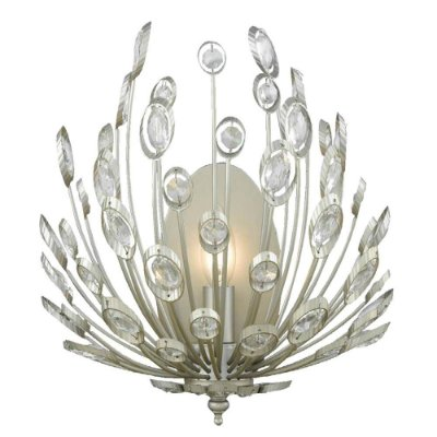 ARANDELA Bella BO012 LORE Candelabro Floral  Prata Envelecido Transparente 30cm x 18cm x 36cm  1 x E14 40W