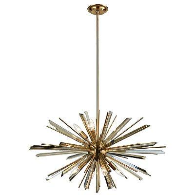 PENDENTE Bella BO013S NIX Haste Espinhos Moderno Bronze Transparente 66cm x 38cm  6 x E14 40W