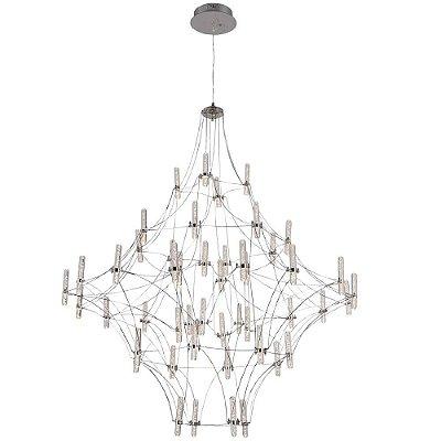 PENDENTE Bella JJ005 JUN Candelabro Aramado Cromado Transparente 103cm x 117cm  48 x LED 0,8W