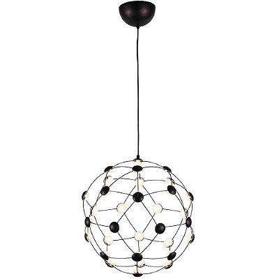 PENDENTE Bella JJ009S NOOM Esfera Aramada  Preto Fosco 45cm x 47cm  32 x LED 0,45W
